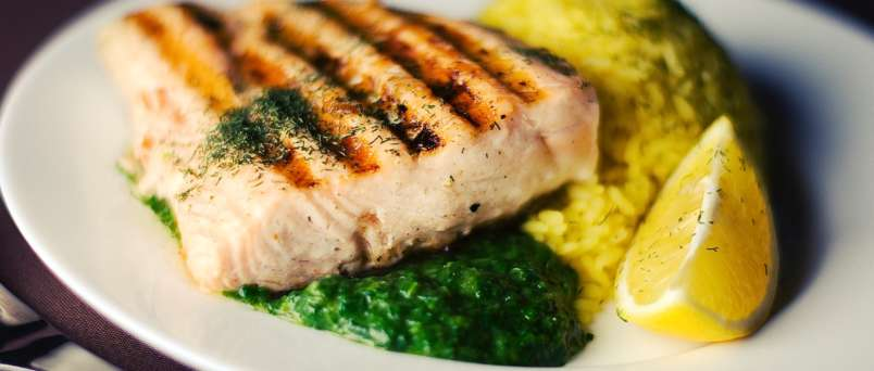 cooked salmon and rice
