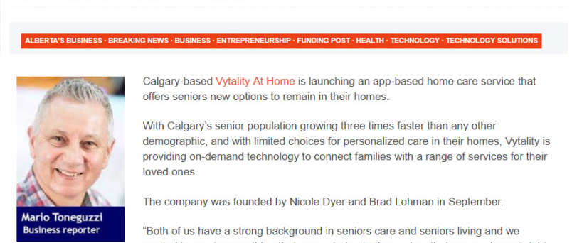 a picture of vytality at home featured in calgary business