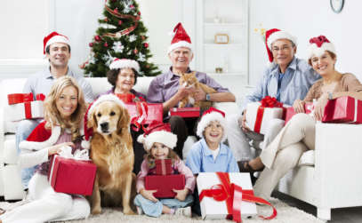 a family posing for a Christmas photo