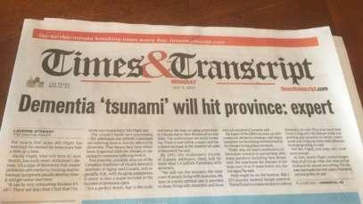 a newspaper article saying dementia tsunami will hit province