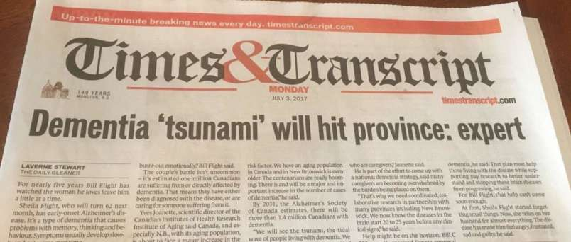 a newspaper article saying dementia tsunami will hit province