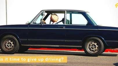 Senior lady driving car