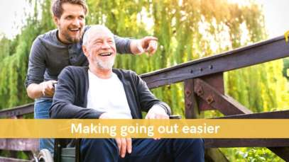 Senior man and carer outing