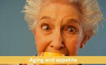 Senior lady eating lemon for healthy eating