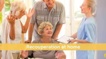 woman returning from hospital for recouperation care at home