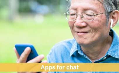 Senior man using app