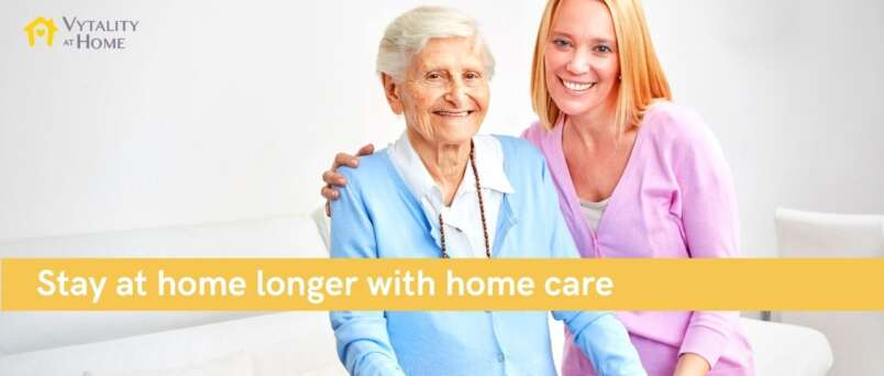 senior lady with home carer
