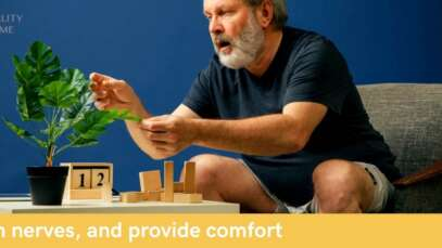 senior man with plant and blocks for sensory therapy for alzheimers